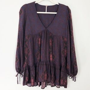 Free People Purple Rayon Tunic Top